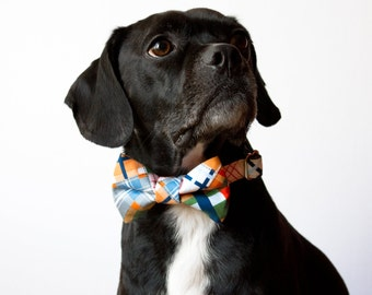 Nautical Patchwork Plaid Dog Bow Tie Collar