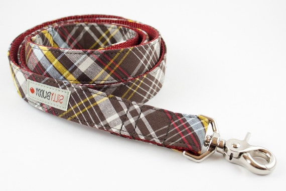 Chocolate Brown Tartan Dog Leash