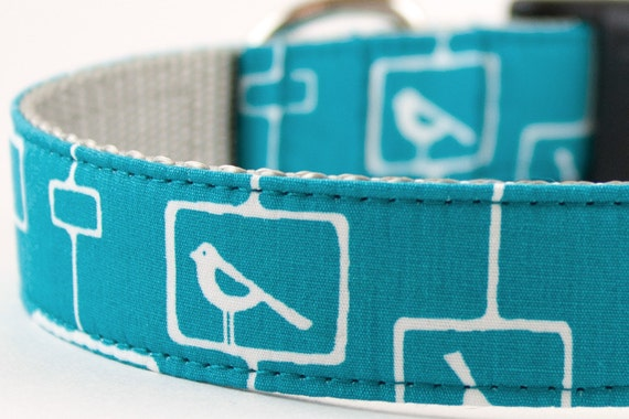 Mod Bird Blue Dog Collar