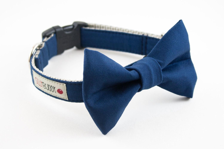 solid navy blue wedding bow tie collar by sillybuddy