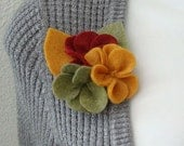 cascade of felt flowers pin