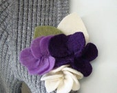 felt flower pansy brooch pin