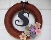 Yarn Wreath Fall Autumn Monogram Front Door Wreath