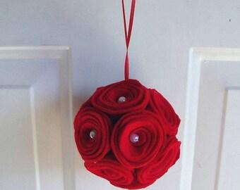 Felt Roses Pomander Kissing Ball
