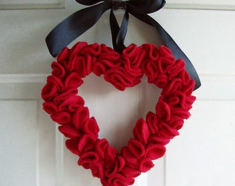 Heart Shaped  Red Ruffled  Felt  Wreath