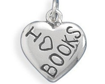 I    LOVE  BOOKS   Charm, Sterling Silver Nr 73608