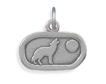 Oxidized Howling Wolf Charm, Sterling Silver, Nr.74049
