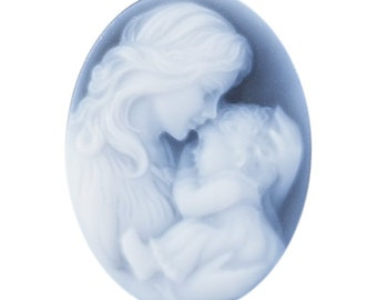 Oval 25 x 18mm Two-Layer Black Agate Mother & Child Cameo