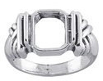 925 Sterling Silver 10 x 8mm Octagon Ring Mounting