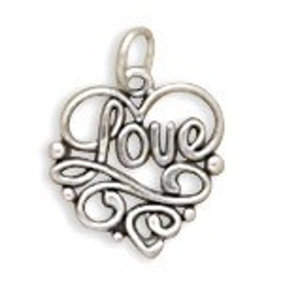 Love Heart Charm, Sterling Silver Nr 72207