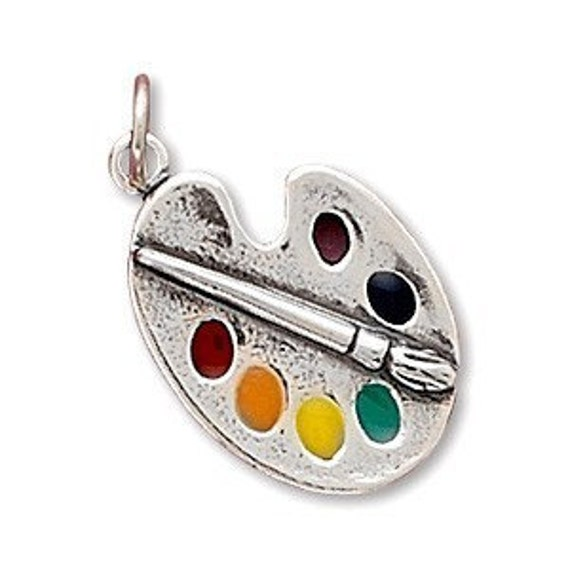 Painter's Palette with Enamel Colors Charm, Sterling Silver Nr 72972