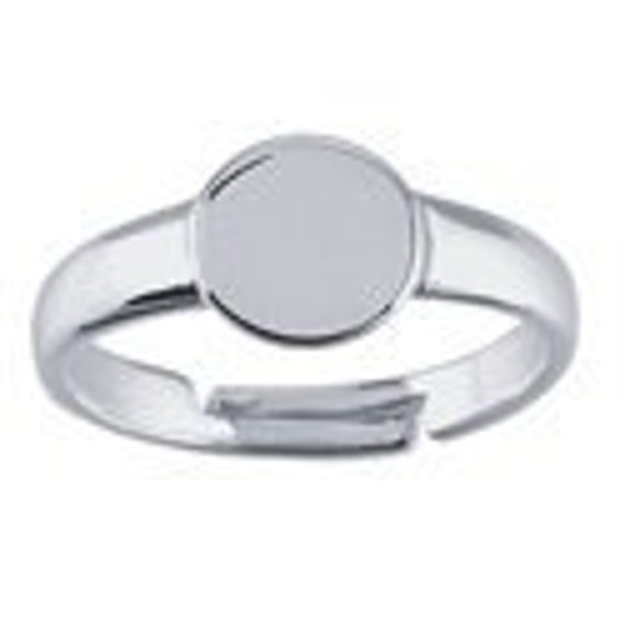 925 Sterling Silver Adjustable Ring with 8mm Round Pad