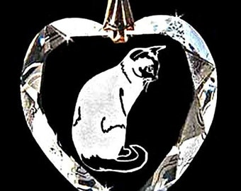 Siamese Cat Jewelry Hand Etched Austrian Crystal Custom Necklace Pendant Suncatcher made with any Animal or Name YOU Want, Gift, kitty,