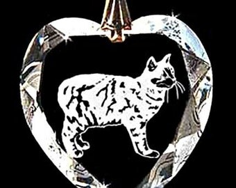 Manx Cat Jewelry Custom Crystal Necklace Pendant Jewelry, Suncatcher made with any Animal or Name YOU Want, Gift, kitty,