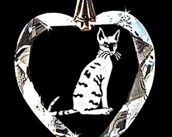 Cornish Rex Cat Jewelry Hand Etched Custom Crystal Necklace Pendant Jewelry, Suncatcher made with any Animal or Name YOU Want, Gift, kitty,