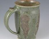 14 oz. Coffee or Tea Mug in Heather Green with Leaves