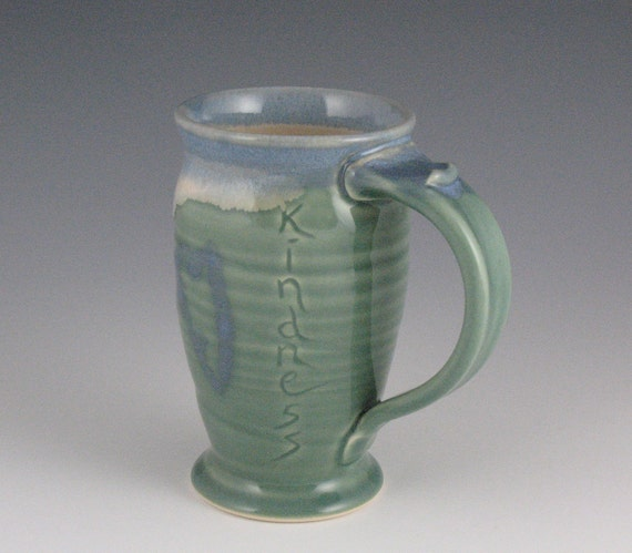 Kindness Coffee or Tea Mug in green and blue