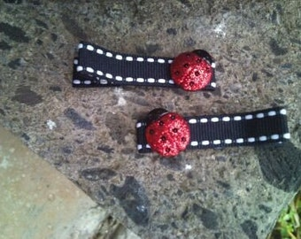 2 Glittery Lady Bug Clippies