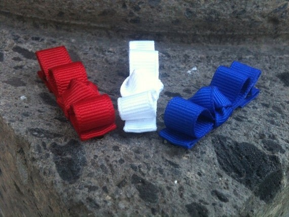 Set of 3 Red, White and Blue  Mini  Tuxedo Clippies