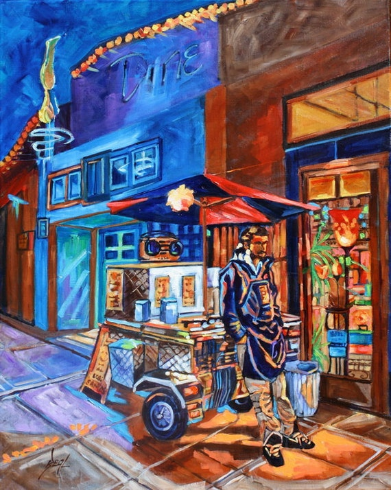 Original Oil Painting Contemporary Art rbealart Vendor Hot Dog Night Scene Lights Evening Impressionism