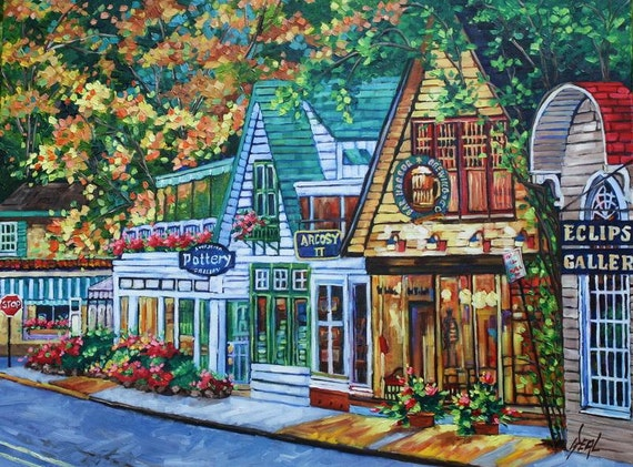 HUGE Original Oil Painting Bar Harbor Contemporary art on Canvas Early Evening by rbealart