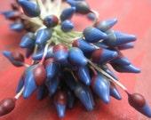 25 Vintage Blue Millinery Flower Stamens