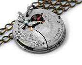Steampunk Necklace, Garnet & Bee Engraved Waltham Pocket Watch, Antique