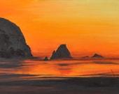 Orange Sunset over Haystack Rock Oregon Coast original oil painting