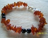 Genuine Amber Chip & Onyx Bracelet Summer Clearance HALF OFF