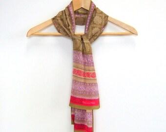 Boho Winter Fashion Vintage Oscar de la Renta Silk Designer Scarf, Gold, Purple, Pink