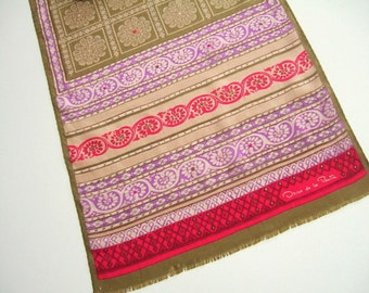 Summer Fashion Boho Vintage Oscar de la Renta Silk Designer Scarf, Gold, Purple, Pink