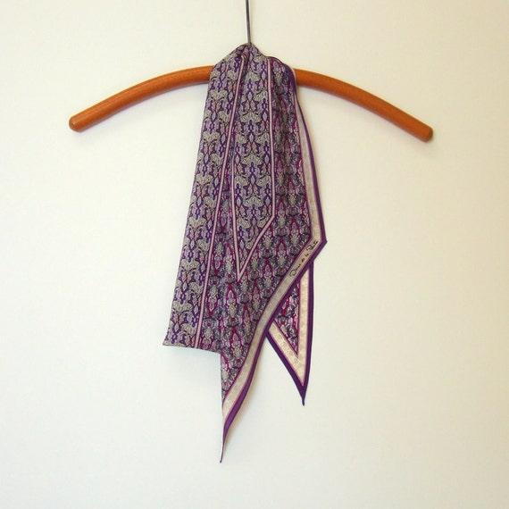 Oscar de la Renta Designer Tie Scarf Purple Silver Art Nouveau Pattern