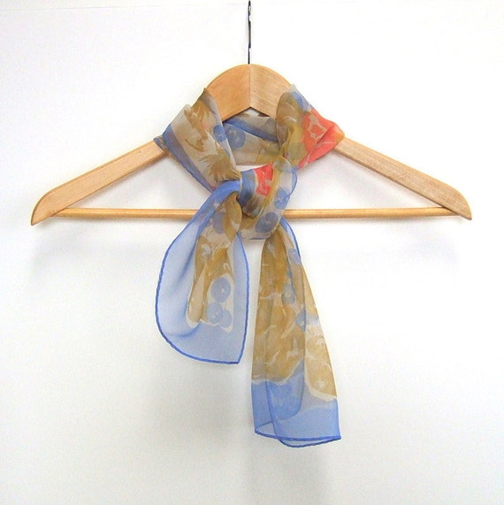 Vintage Fashion Scarf Light Blue Pink Gold Long Sheer Scarf 1960s