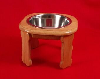 Elevated Dog Feeder Bowl , 9 Inch High, Three Quart Bowl, Solid Oak, FREE  STAIN