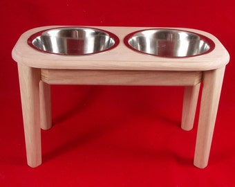 Elevated Dog Feeder Bowl, Oak, 15 Inch High, 5 Quart, FREE NAME and STAIN