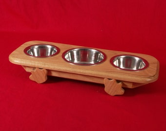 Elevated Cat Feeder Solid Oak Wood 3 Inch High One Quart and One Pint Bowls  FREE STAINING
