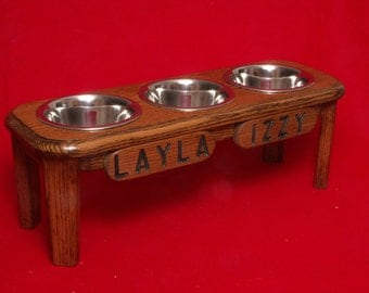 Elevated Dog Feeder, 8 Inches High, Solid Oak Wood, Two Quart Bowls, FREE Name and Staining