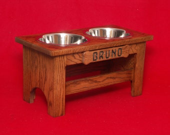 Elevated Large Dog Feeder Bowl, 12 Inch, Three Quart, Solid Oak, FREE NAME and STAIN