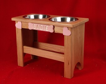 Elevated Raised Large Dog Feeder Bowl, 18 Inch, Three Quart, Solid Oak, FREE NAME and STAIN