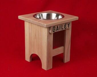 Elevated Large Dog Feeder, Single Bowl, 15 Inchs High, Solid Oak, Three Quart