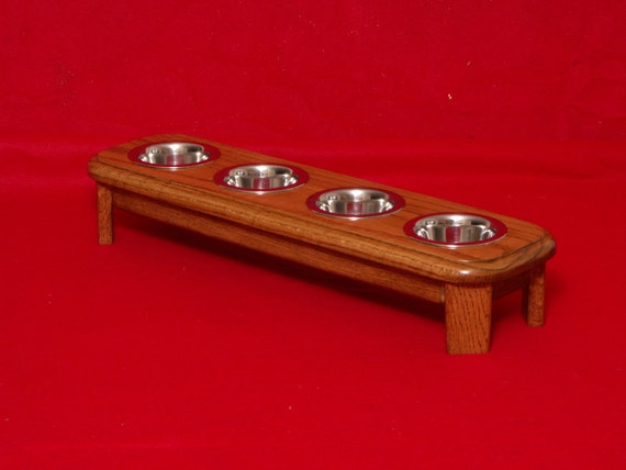 Elevated Feeder Solid Oak 4 Inch High Four 1/2 Pint Bowls  FREE STAINING
