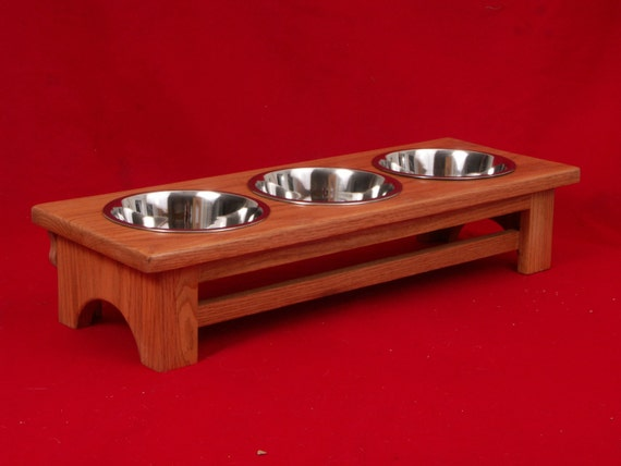 Elevated Dog Feeder, 6 Inches High, Solid Oak, Two Quart Bowls, FREE Name and Staining