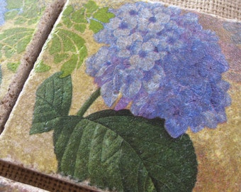 Floral Mystique Hydrangea - Natural Stone Tile Drink Coasters - Set of 4