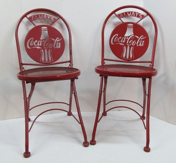 Two Vintage Folding Coca Cola Ice Cream Parlor Chairs