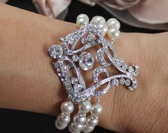 Pearl Bridal Bracelet, Statement Crystal Bridal Cuff, Wedding Jewelry, Pearl Bridal Jewelry, Bridesmaid Bracelet NINA