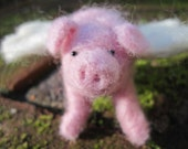 Needle felted flying pig/needle felted animal