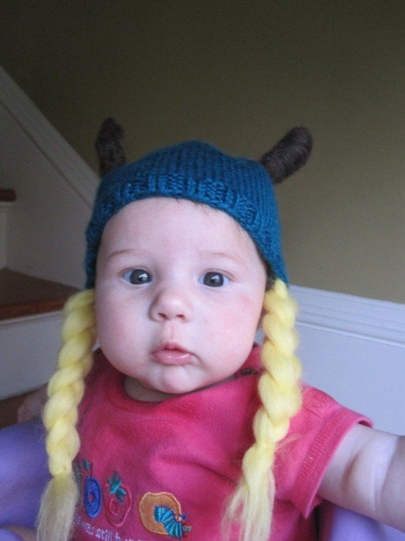 Knitted Viking Knit And Felt Baby Viking Hat