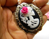 Neon Pink Gothic Necklace Skull Cameo Jewelry