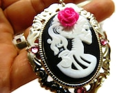 Cameo Day of the Dead Necklace Black Pendant Hot Pink Rose Gothic Lolita Crystals