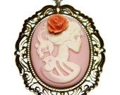Light Pink Day of the Dead Skull Cameo Necklace